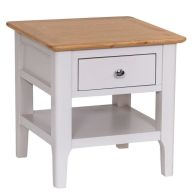 See more information about the Necton Oak Dove Grey 1 Drawer Side Table