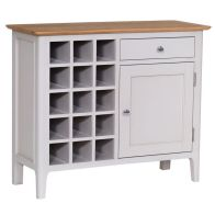 See more information about the Necton Oak Dove Grey 1 Door 1 Drawer Wine Rack