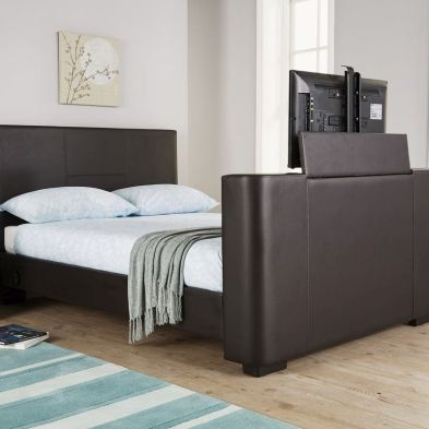 Newark Double Bed 4ft 6in Brown TV Bed Frame