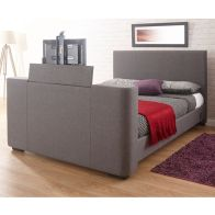See more information about the Newark Fabric King Size Bed 5ft Grey TV Bedstead