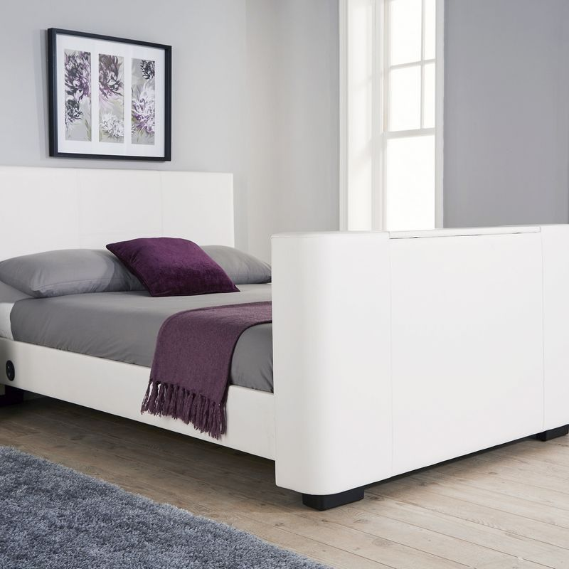 Newark Double Bed 4ft 6in White Tv Bed Frame Buy Online At Qd Stores