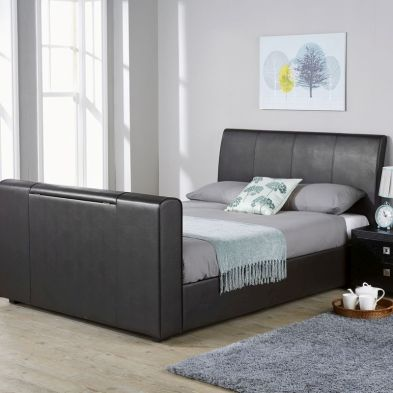 Brooklyn PU Leather Double Bed 4ft 6in Black TV Bed Frame