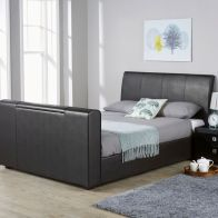 See more information about the Brooklyn PU Leather Double Bed 4ft 6in Black TV Bed Frame