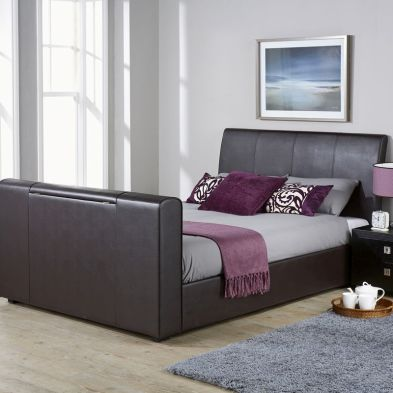 Brooklyn PU Leather Double Bed 4ft 6in Brown TV Bed Frame