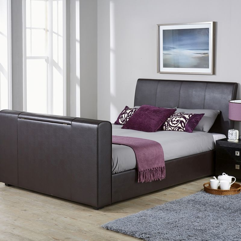 Brooklyn Pu Leather Double Bed 4ft 6in Brown Tv Bed Frame Buy