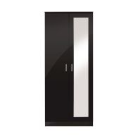 See more information about the Ottawa Wardrobe Black 2 Door With Mirror