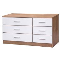 See more information about the Ottawa Wide White Gloss & Oak Finish 6 Drawer Chest of Drawers