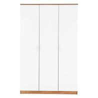 See more information about the Ottawa White Gloss & Oak Finish 3 Door Wardrobe