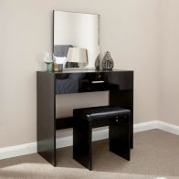 See more information about the Ottawa Dressing Table Black 1 Drawer With Stool