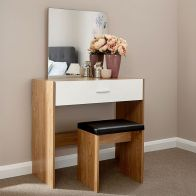 See more information about the Ottawa Dressing Table Oak Style 1 Drawer With Stool