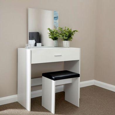 Ottawa White 1 Drawer Mirror Dressing Table & Stool Set