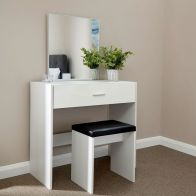 See more information about the Ottawa Dressing Table White 1 Drawer With Stool