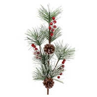 See more information about the Festive Berries & Pine Cone Branch Stem Red 64cm