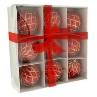 See more information about the Festive 9 Pack (8cm) Shiny Glitter Pillow Bauble Set Red & Gold