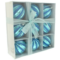 See more information about the Festive 9 Pack (8cm) Glitter & Ribbon Bauble Set Shiny Blue