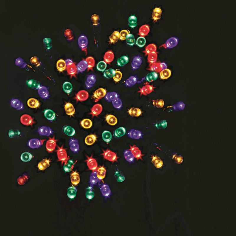 100 LED Multicolour Outdoor Fairy Christmas Lights Mains 10m