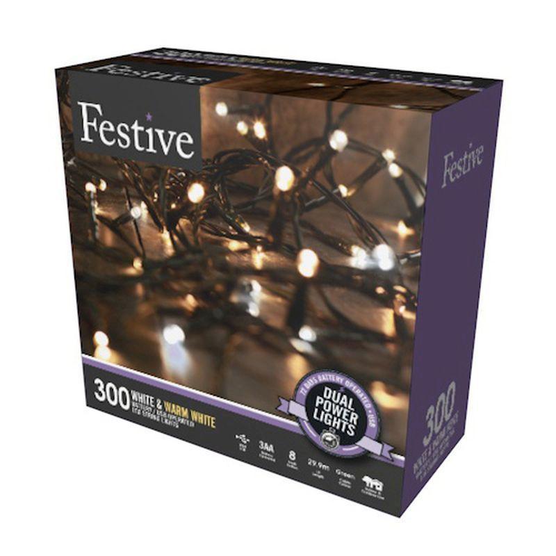 300 LED Two Tone White 29.9m Dual Power Christmas Tree ...