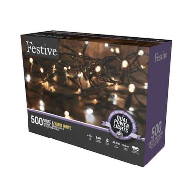 500 LED Two Tone White Outdoor Animated Fairy Lights Dual Power 49.9m