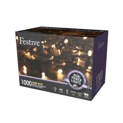 1000 LED Warm White 99.9m Dual Power Christmas Tree Outdoor Lights