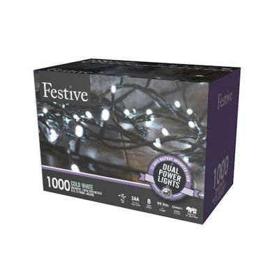 1000 LED White 99.9m Dual Power Christmas Tree Outdoor Lights
