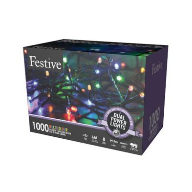 1000 LED Multicolour 99.9m Dual Power Christmas Tree Outdoor Lights
