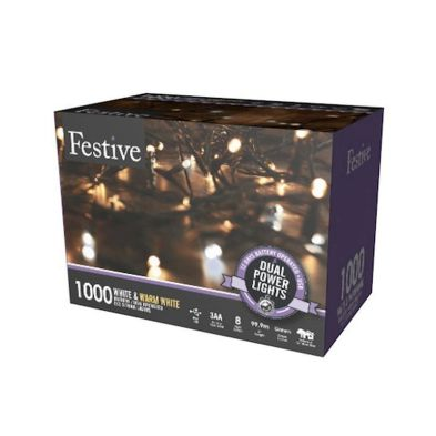 1000 LED Two Tone White 99.9m Dual Power Christmas Tree Outdoor Lights