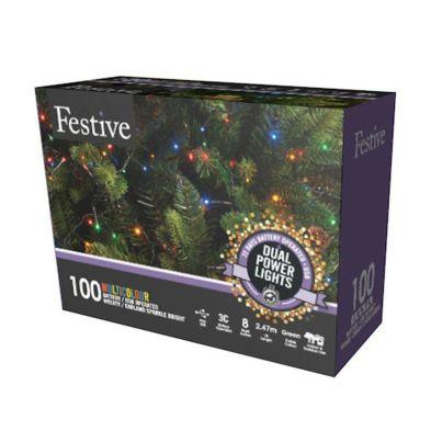 100 LED Multicolour 2.5m Fairy Christmas Tree Outdoor Lights
