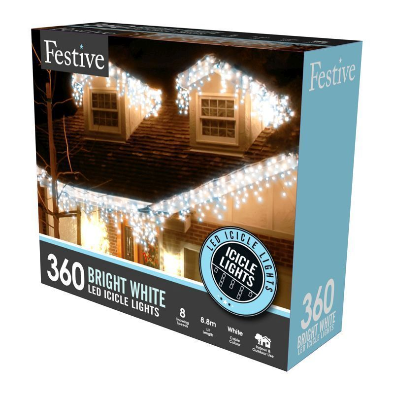 360 LED White Outdoor Animated Snowing Icicle Fairy Lights Mains 8.8m