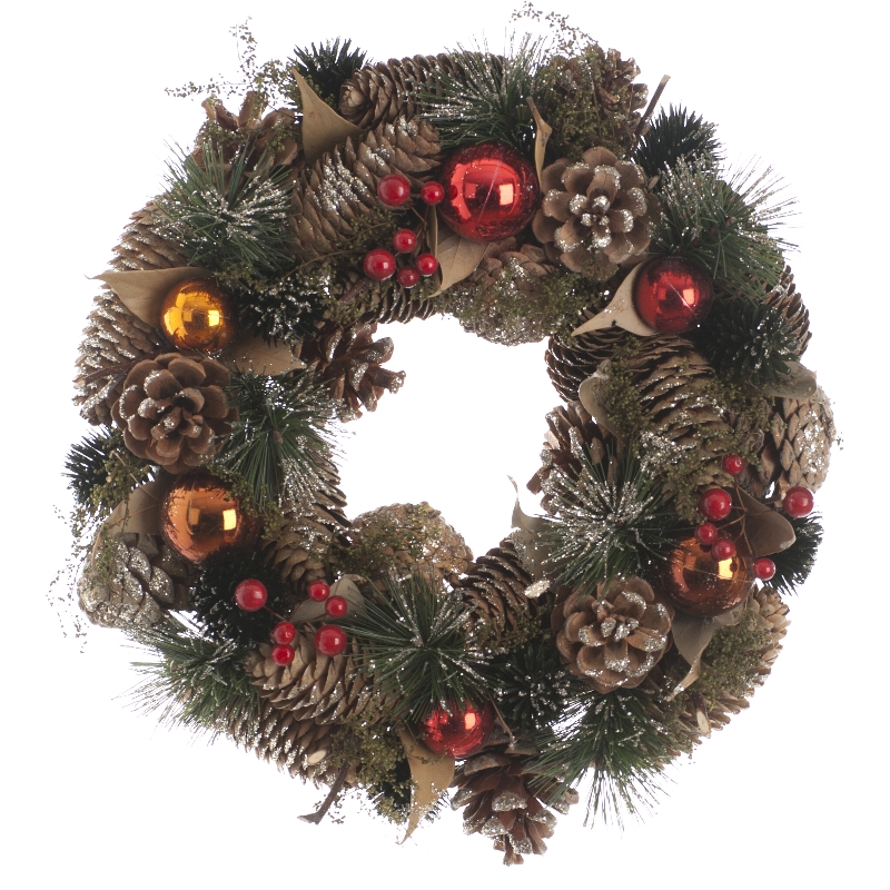Festive Berries Wreath Red & Copper 36cm