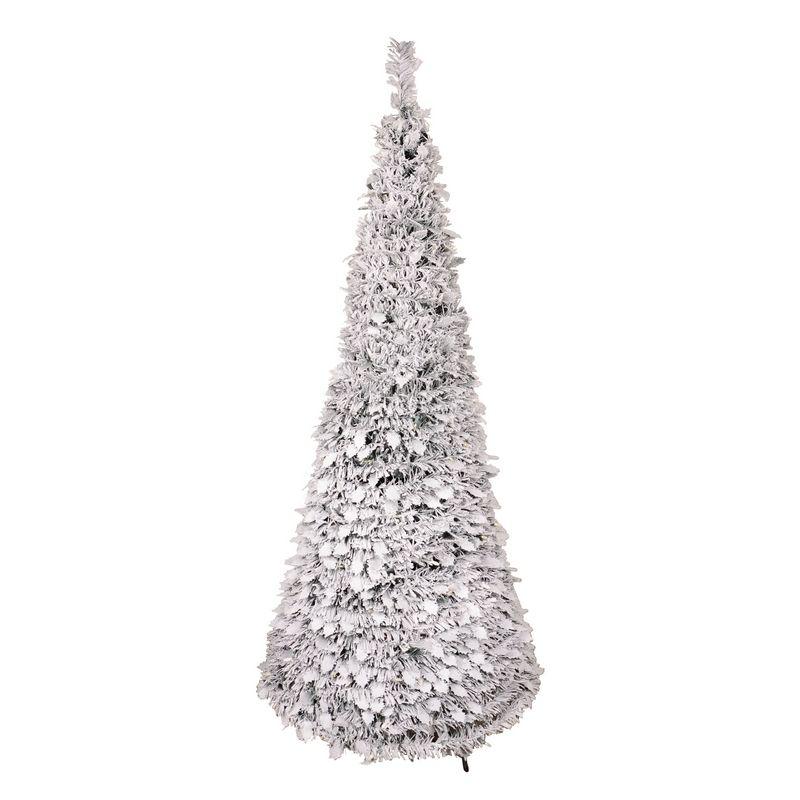 Pop Up Christmas Tree.150cm 5 Foot White Prelit Flock Holly Pop Up Christmas Tree