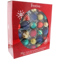See more information about the Festive 52 Pack (7cm) Candy Shop Bauble Set Blue, Green & Gold