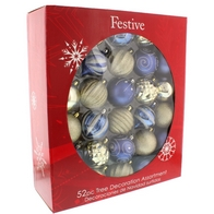 See more information about the Festive 52 Pack (7cm) Wonderland Bauble Set Champagne Gold & Purple