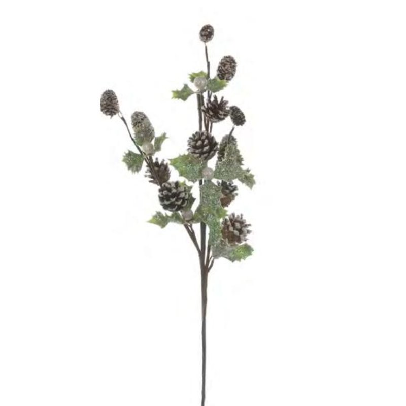 60cm pinecone stem with holly and berries
