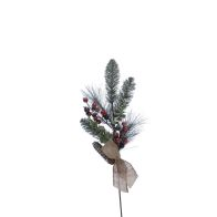See more information about the Festive Bristle & Pine Cone Mistletoe Red & Fosted 60cm