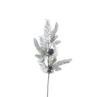 See more information about the Festive Pine Cone Spray Stem Green & Frosted 56cm