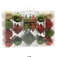 See more information about the Festive 36 Pack Nature & Traditional Bauble Set Red, Gold & Green