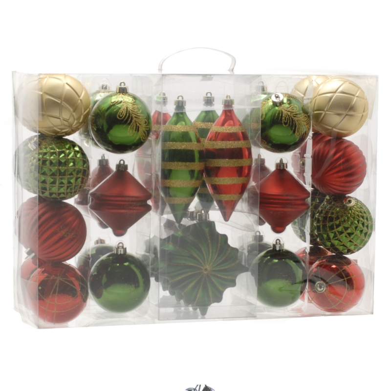 Festive 36 Pack Nature & Traditional Bauble Set Red, Gold & Green