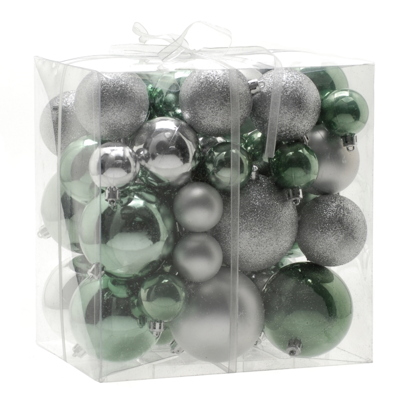Festive 50 Pack Soothing Bauble Set Mint & Silver