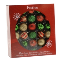 See more information about the Festive 52 Pack (7cm) Traditional Mix Bauble Set Red, Gold & Green
