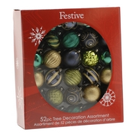 See more information about the Festive 52 Pack (7cm) Traditional Mix Bauble Set Blue, Green & Gold