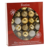 See more information about the Festive 52 Pack (7cm) Regal Selection Bauble Set Gold & White
