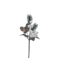 See more information about the Festive Mixed Berries & Pine Cone Pick Stem White 22cm