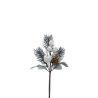 See more information about the Festive Berries & Pine Cone Pick Stem White 19cm