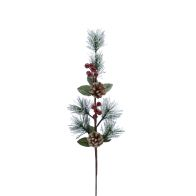 See more information about the Festive Berries & Pine Cone Spray Stem Red & Frosted 62cm
