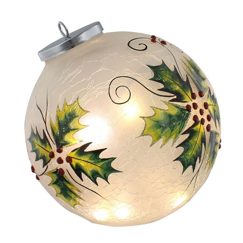 10 LED Holly Crackle Effect Ball 18cm