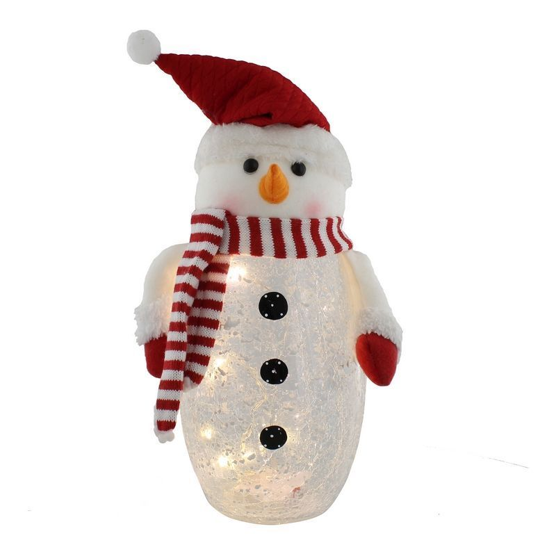 10 LED Crackle Effect Snowman 38cm