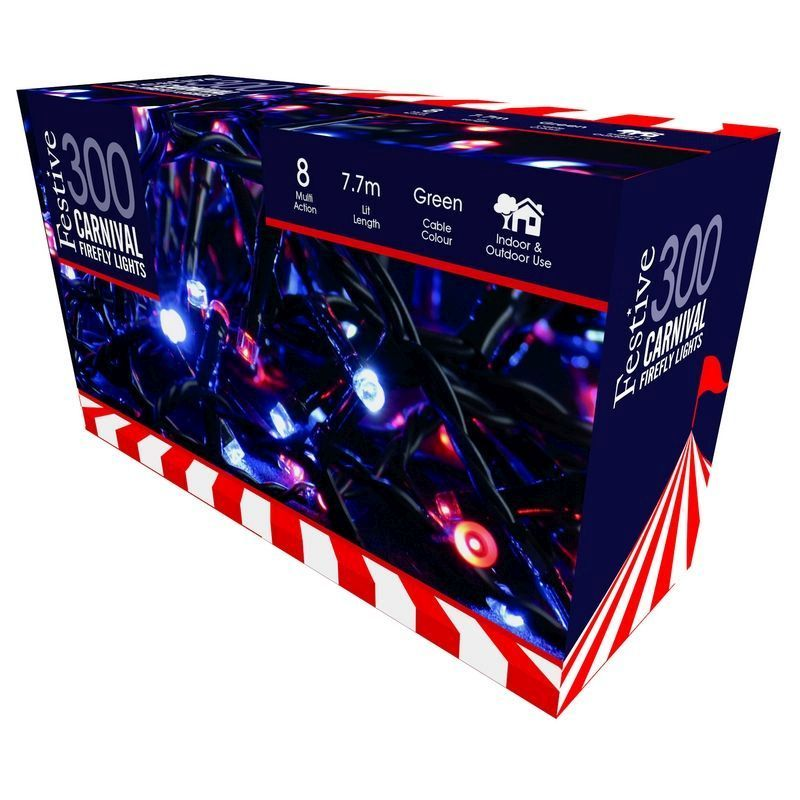 300 LED Blue & Red Carnival Firefly Lights