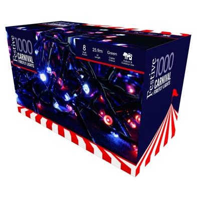 1000 LED Blue & Red Carnival Firefly Lights