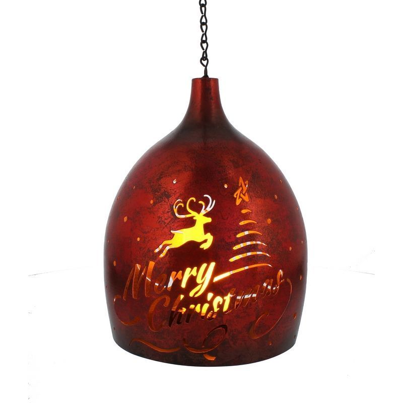 Warm White Red Metal Hanging Lantern 27cm