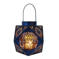See more information about the Warm White Blue Metal Geometric Lantern 20cm